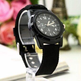 โอเพศเรืองแสงนาฬิกาข้อมือเข็มขัดผ้าใบทัพผลึกกีฬาสไตล์สีดำ