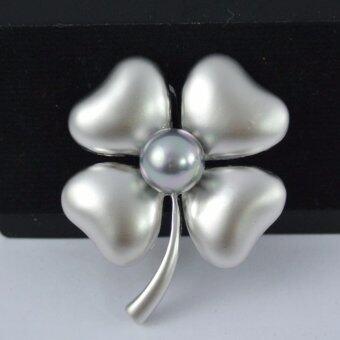 Pearl Jewelry เข็มกลัดติดชุดดำ ดอกไม้มุกดำ