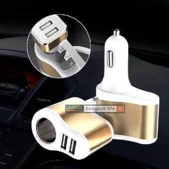 1688 thailand Car Charger 31A 2in1 หัวชาร์จในรถ 2 USB + เพิ่มช่องจุดบุหรี่ 1 UC206