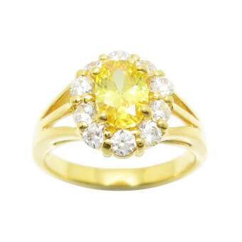 Tangems แหวนดอกไม้เพชรล้อมพลอยบุศราคัม รุ่น 2394 (ทอง/บุศราคัม/เพชร)