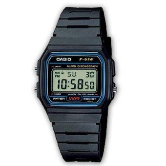 Casio Standard นาฬิกาข้อมือ สุภาพบุรุษ สายเรซิ่น รุ่น F-91W-1DG - Black