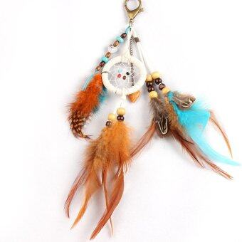 Harga Fashion Handmade Feather Bead Hanging Key Button Ornament Gift - intl