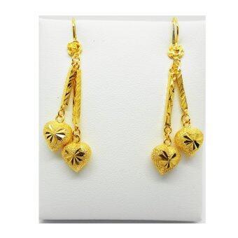 Thai Jewelry ต่างหูทอง ห้อยหัวใจคู่ งานชุบทองไมครอน หุ้มทอง 100%