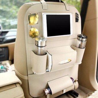 Smartmall ที่ใส่ของในรถเอนกประสงค์ กระเป๋าใส่สัมภาระอเนกประสงค์ด้านหลังเบาะ สีครีม