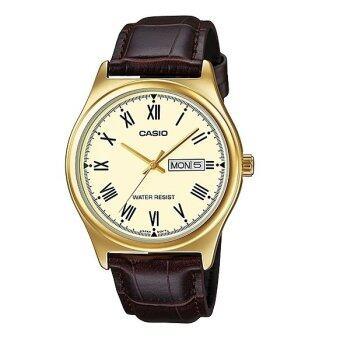 Casio Standard นาฬิกาข้อมือสุภาพบุรุษ สายหนัง รุ่น MTP-V006GL-9B (สีน้ำตาล)