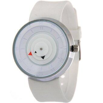 MEGA Popular Simple Brief Unique Design Waterproof Creative Young Fashion Quartz Watches หน้าปัดกลมเรียบ สายซิลิโค กันน้ำ รุ่น MG0021 (White)