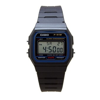 Casio Standard นาฬิกาข้อมือผู้ชาย สีดำ สายเรซิ่น รุ่น F-91W-1D