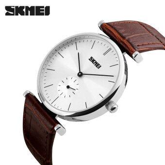 2016 คุณภาพสูง SKMEI 1175คน ' S ออกแบบง่าย ๆ ธุรกิจนาฬิกาควอทซ์สายหนังเงินหอย (สีน้ำตาล)