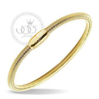 555jewelry กำไลข้อมือ เส้นกลม สี ทอง รุ่น MNC-BG157-B - สร้อยข้อมือดีไซน์เรียบ สแตนเลสสตีล