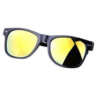 แว่นตาแว่นกันแดดเลนส์กระจกเรโทรกระจกแว่นตากันแดดแสงสีเหลือง