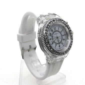 Vanker ผู้ชายสองคนรักผู้หญิงร้อน/สายเข็มขัดซิลิโคนเจาะเรืองแสงนาฬิกาข้อมือควอตซ์ (ขาว)