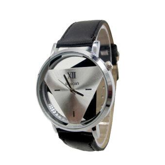 YBC นาฬิกาสายหนังธุรกิจด้วยการหมุนนาฬิกาข้อมือบอบบางผลึกสีดำ