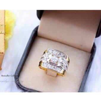 ManeeNopparut มณีณพรัช แหวนทอง (ชาย) เพชรเหลี่ยมเส้นข้าง รุ่น RM024