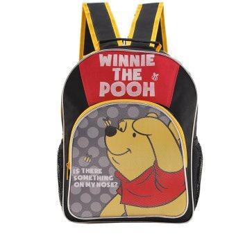 Disney Winnie The Pooh กระเป๋าเป้ กระเป๋านักเรียนสะพายหลัง (สีดำคาดเหลือง)