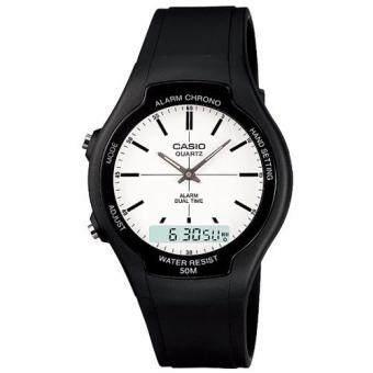 Casio Standard นาฬิกาข้อมือผู้ชาย สีดำ สายเรซิ่น รุ่น AW-90H-7EVDF