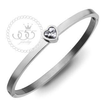 555jewelry กำไลข้อมือ ประดับ CZ รูปหัวใจ สี สตีลเงิน รุ่น MNC-BG258-A - กำไลข้อมือดีไซน์เรียบ สแตนเลสสตีล