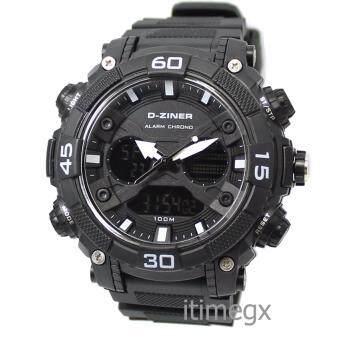 D-ZINER นาฬิกาข้อมือผู้ชาย สายซิลิโคนรุ่น DZ-8073 (ดำ/ขาว)