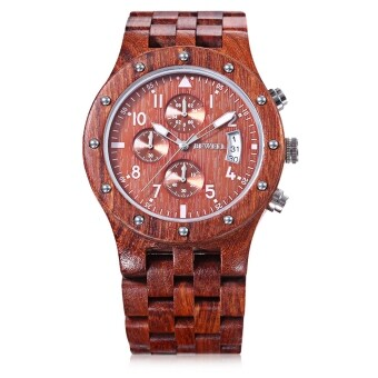 Harga BEWELL ZS - W109D Male Wooden Quartz Watch Japan Movt Working Sub-dial Date Display Wristwatch (Red)