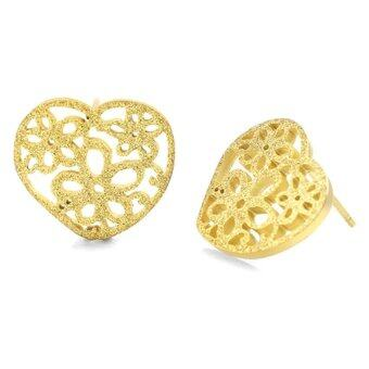 555jewelry ต่างหูก้านเสียบรูปหัวใจฉลุลายดอกไม้ รุ่น MNC-ER454-B สี Yellow Gold