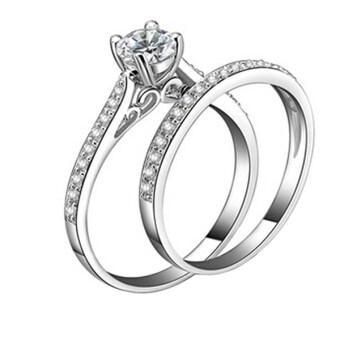 Sanwood ผู้หญิง Zirconia 925 เงินกาไหล่แหวนหมั้นเซ็ต 2ชิ้น