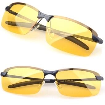 คนขับรถสวมแว่นสนามแม่เหล็กสีเหลืองเลนส์แว่นตาจ้องเขม็งมองในที่มืดช่วยขับแสง (สีดำ)