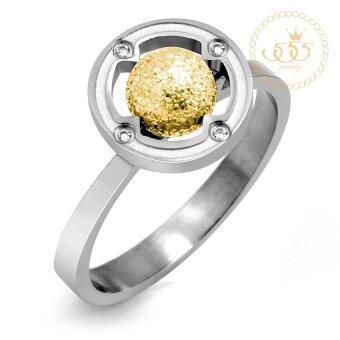 555jewelry แหวนหัวบอลกลม รุ่น MNC-R501-B ( Yellow Gold )