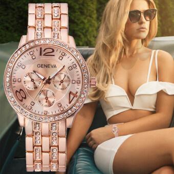 ขายถูก Poca Watch GENEVA The New Watch 2017 ยี่ห้อ นาฬิกาข้อมือ เครื่องประดับ เรือนสีทองชมพู ผู้หญิง แฟชั่น ลดราคาถูก PinkGold สาย Stainless ขายดี