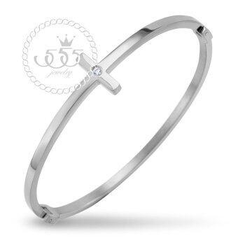 555jewelry Stainless Steel 316L กำไลข้อมือสแตนเลส รุ่น MNC-BG233-CZ-A (Steel)