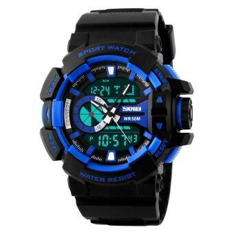 SKMEI แบรนด์นาฬิกาแฟชั่นกีฬาเดินป่าอุปกรณ์อิเล็กทรอนิกส์สำหรับนักเรียนหนัง pu นาฬิกา 50แผ่นกันน้ำคู่แสดงผลแบบผลึกเวลาทหารขยับนาฬิกาข้อมือนาฬิกา
