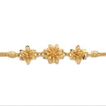 MONO Jewelry สร้อยข้อมือจากเศษทองแท้ลายดอกไม้พ่นทรายสายสี่เสา รุ่น น้ำหนัก ๑ บาท