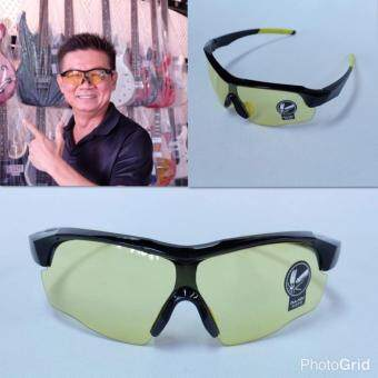 Hayashi-แว่นตาสำหรับปั่นจักรยาน แว่นตากันแดดเล่นกีฬาเลนส์สีเหลือง กรอบสีดำ - เหลือง