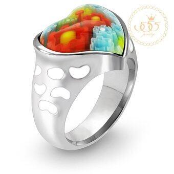 555jewelry แหวนดีไซน์สวยงาม รุ่น MNC-R057 (Steel & แก้วมูราโน่)