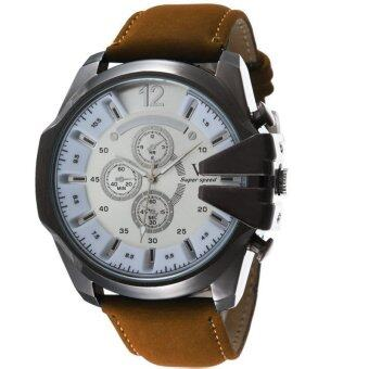MEGA Luxury Quartz Waterproof Leather Watchband Outdoor Fashion Analog Wristwatch หรูหรานาฬิกาข้อมือ สายหนัง กันน้ำ รุ่น MG0018 (White/Brown)