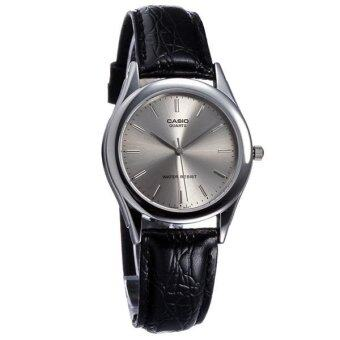 Casio Standard นาฬิกาข้อมือผู้ชาย- สีเงิน สายหนังสีดำ รุ่น MTP-1093E-8A