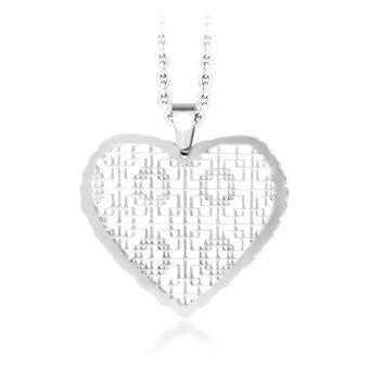 555jewelry จี้รูปหัวใจ ฉลุลายกราฟฟิกละเอียด รุ่น MNC-P035-A - Steel