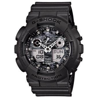 Casio G-Shock ผู้ชายสีเทามียางรัดนาฬิกา GA-100CF-8A
