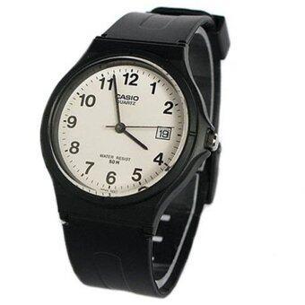 CASIO นาฬิกาสายยางดำ หน้าปัดขาว มีตัวเลข และวันที่ บางเบา กันน้ำได้ รุ่น MW-59-7BVDF (ดำ/ขาว)
