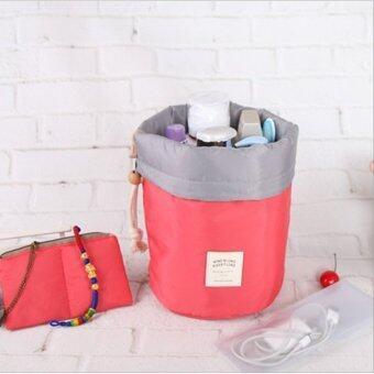 TravelGear24 กระเป๋าจัดระเบียบ กระเป๋าเครื่องสำอางค์ กระเป๋าใส่แปรงแต่งหน้า ทรงกระบอก Cosmetic Case Bag (Pink/สีชมพู)