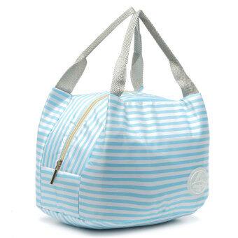 ฉนวนเก็บความร้อนกระเป๋าถือกล่องอาหารกลางวันกระเป๋าปิคนิคบรรจุถุง Bento สีน้ำเงิน