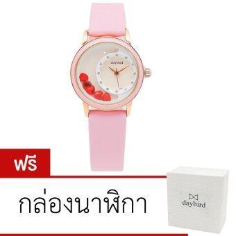 Daybird นาฬิกาข้อมือสายหนัง รุ่น DB-3777-PK-RGWH (สีชมพู)