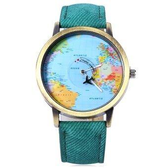 นาฬิกาข้อมือนาฬิกาควอทซ์เพศแผนที่โลกสายหนัง 7