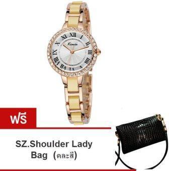 Kimio นาฬิกาข้อมือผู้หญิง สีทอง หน้าปัดสีขาว สาย Alloy รุ่น KW506 ( แถมฟรี SZ. Shoulder Lady Bag คละสี 1ใบ มูลค่า 299-)