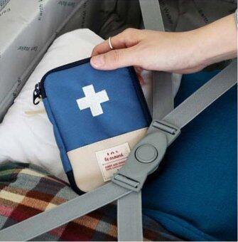 TravelGear24 กระเป๋ายา กระเป๋าเครื่องสำอางค์ กระเป๋าเก็บของ กระเป๋าจัดระเบียบ กระเป๋าในกระเป๋า Drug Organizer Bag Bag in Bag - Navy/สีน้ำเงิน
