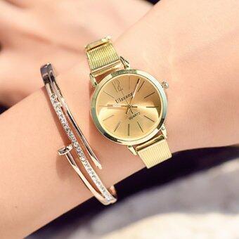 KPshop นาฬิกาผู้หญิงสายหนัง นาฬิกาข้อมือแฟชั่น นาฬิกาสวยๆของผู้หญิง รุ่น LC-002 (สีทอง)