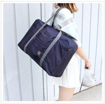 กระเป๋าเดินทางแบบพับได้ สอดเข้ากับด้ามจับกระเป๋าเดินทางได้ กระเป๋าพับได้ Wind Blows Travel Folding Bag (Navy Blue / สีน้ำเงิน)