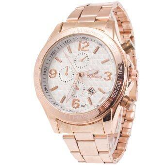 MEGA Calendar Wristwatch ปฏิทินนาฬิกาข้อมือผู้หญิง-ชาย สาย Stainless รุ่น MG0015 (White)
