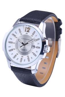 ขายร้อน Curren 8123 นาฬิกาหรูยี่ห้อผลึกควอทซ์สายหนังนาฬิกากันน้ำกีฬาเงินหอยขาวพื้นผิว