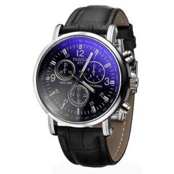 จระเข้หนังเทียมแฟชั่นหรูนาฬิกานาฬิกาคล้ายคลึงบุรุษสีดำ