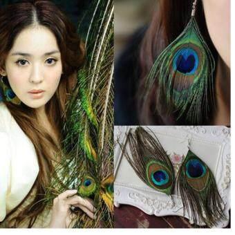 Leegoal ผู้หญิงแฟชั่น Boho สีสันสไตล์ธรรมชาติปล่อยนกยูงตุ้มหูขนยาว (สีน้ำเงิน)