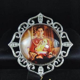 Pearl Jewelry เข็มกลัดในหลวง ร.9 PK26 กรอบสีเงิน